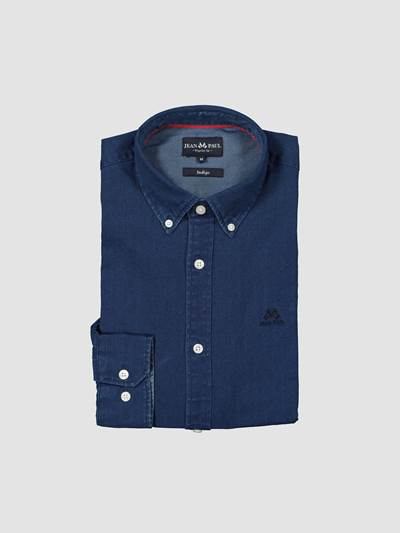 Indigo Herringbone Skjorte - Regular Fit D03